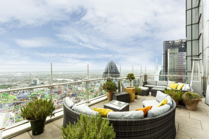 Sushisamba terrace London view plants outdoor furniture