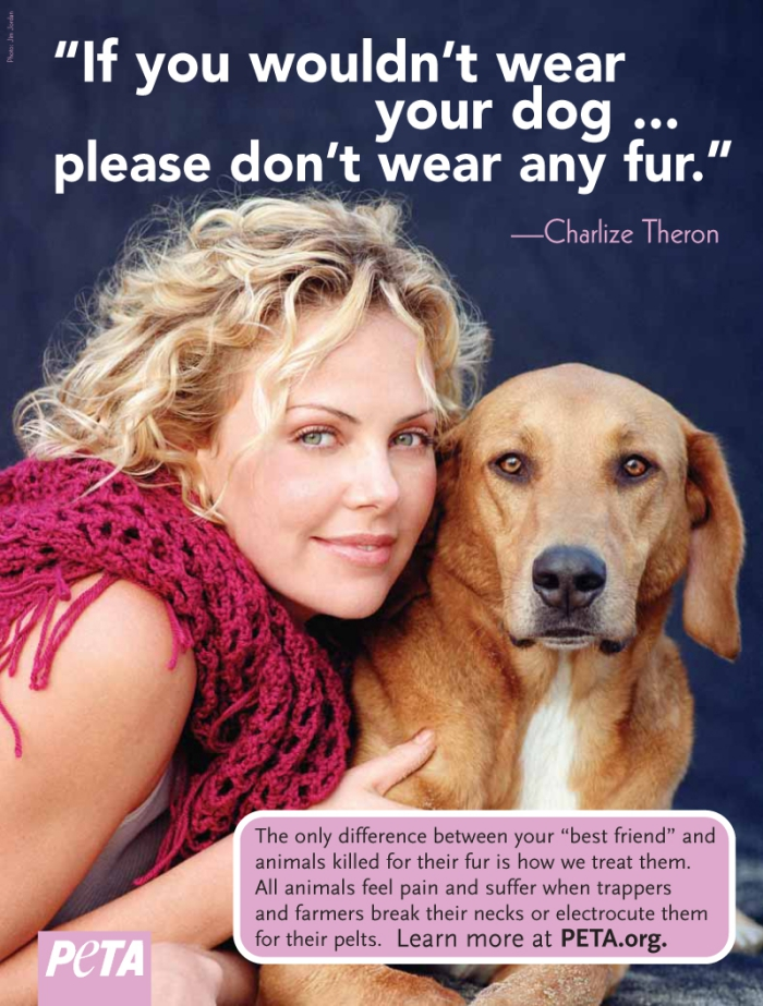 Charlize Theron with bright scarf on a poster with her dog slogan PETA no-fur campaign
