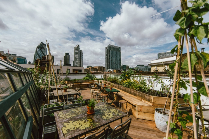 Culpeper urban garden restaurant in London terrace view