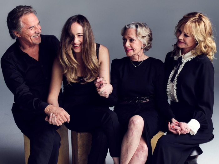 Dakota Johnson family all dressed in black Melanie Griffith Don Johnson