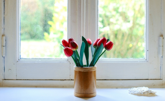 White windows with vase with tulips in front of them need windows replacement