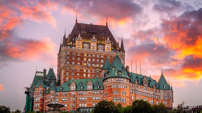 Fairmont Le Château Frontenac Canada Quebec City hotel by sunset
