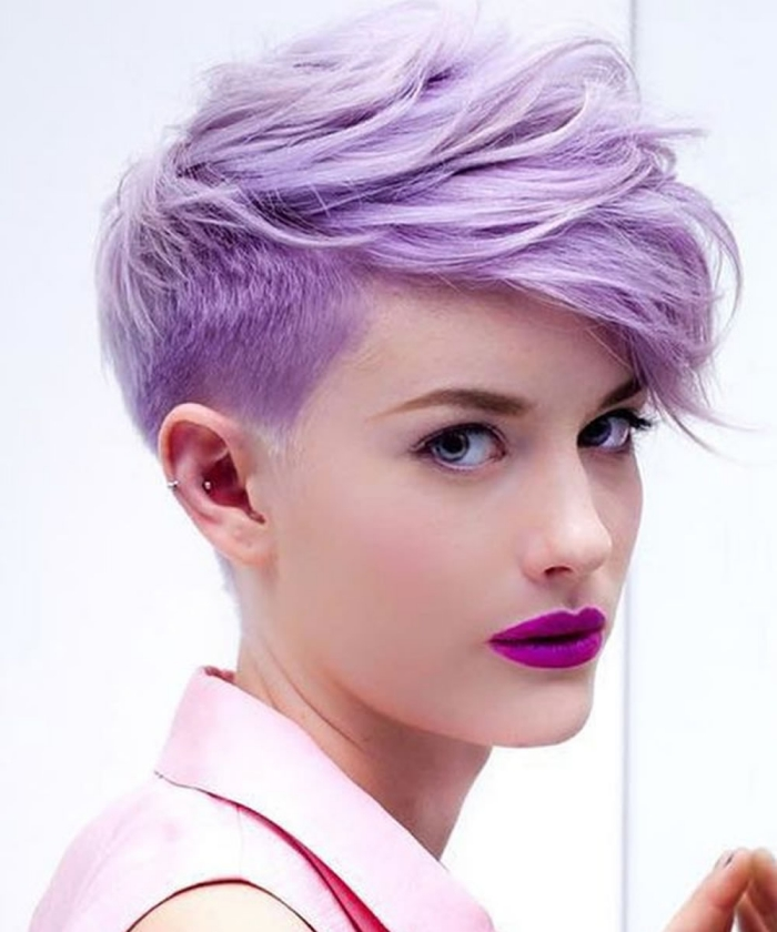 woman with bright Faux Hawk Pixie Cut light skin purple lipstick on a white background
