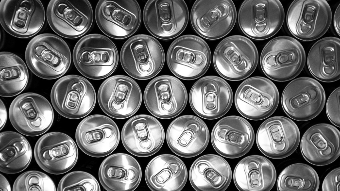 Multiple metal cans from above