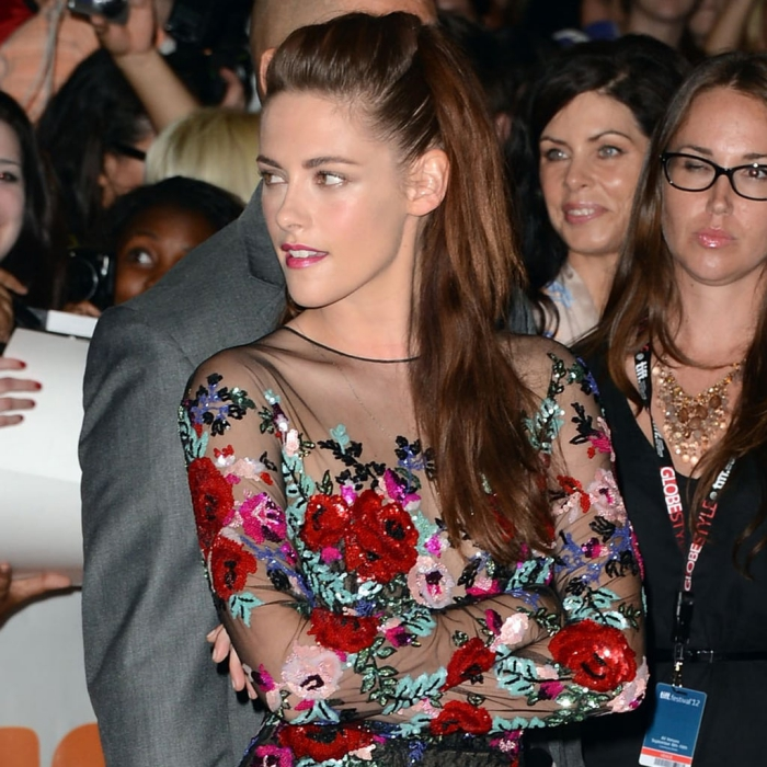 Kristen Stewart with a embroidered dress in public