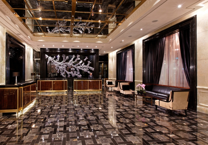 Luxury Hotels in Canada Trump Tower Toronto interior glass marble floors