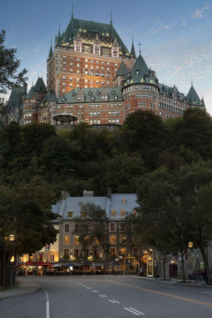Best luxury hotels in Canada grand castle quebec city evening view