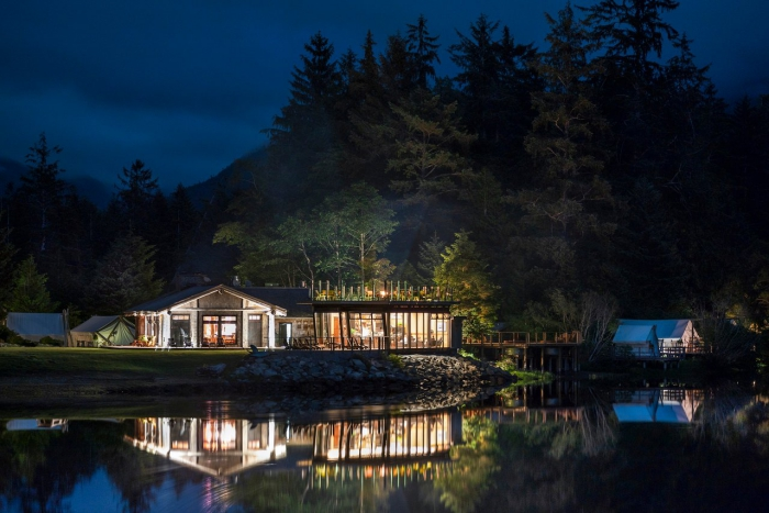Clayoquot Wilderness Resort Vancouver island night view safari style building lake