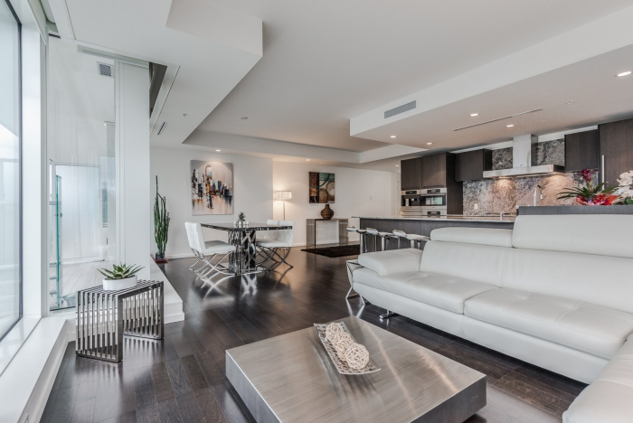 Fairmont Pacific Rim Vancouver Contemporary Apartment Interior in White