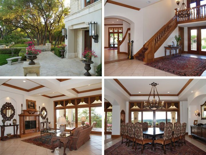 McConaughey lake mansion interior wooden details fireplace staircase