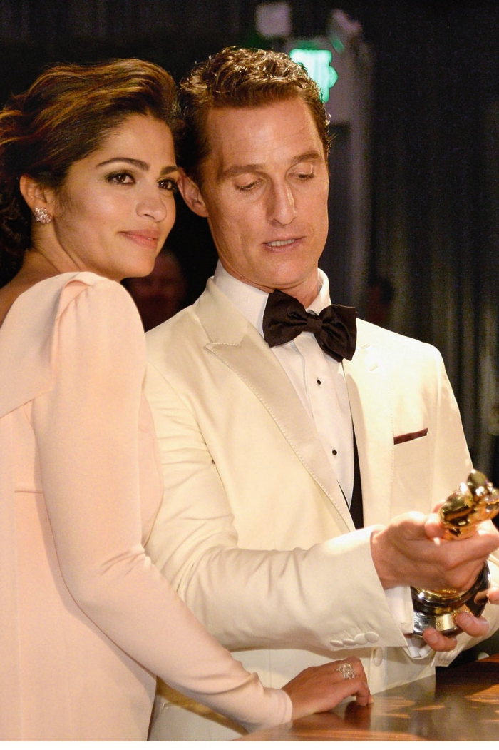 Matthew McConaughey and wife Camila Alves dressed in white Oscar ceremony Academy Awards