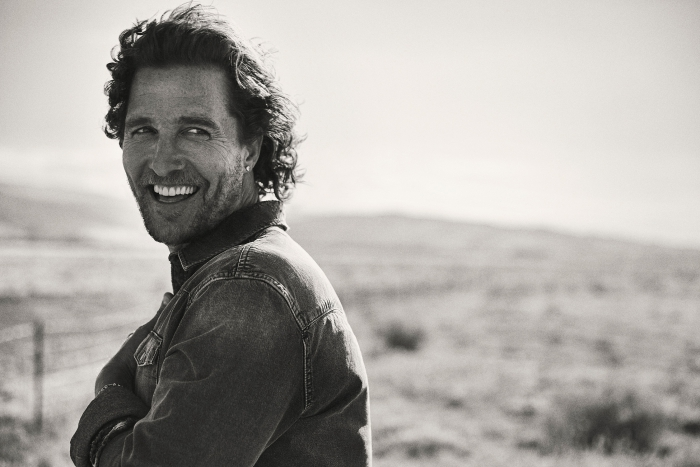 McConaughey oscer winning actor smiling black and white portrait outdoors