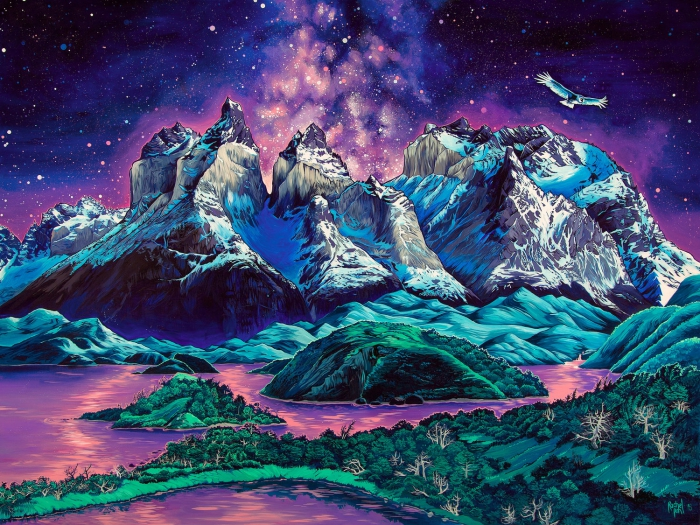 A painting from Rachel Pohl starry night in the mountains