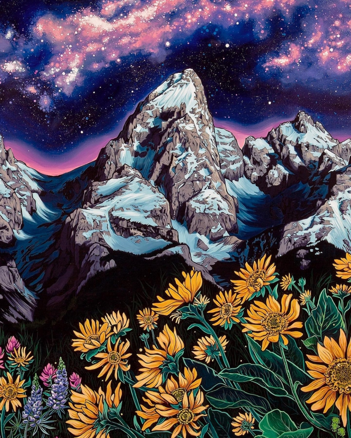 Rachel Pohl painting night in the mountains with yellow flowers