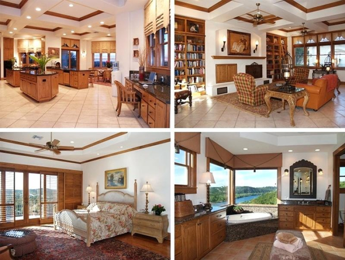 inside McConaughey lake mansion wooden details kitchen living room two bedrooms lake view