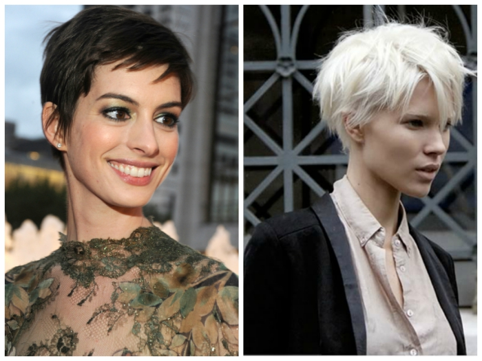 celebrities with shaped straight pixie model and actress
