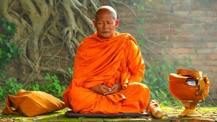 monk dressed in bright orange meditating in front of a tree
