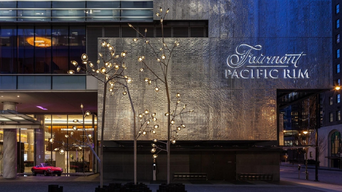 The Fairmont Pacific Rim luxury hotel in Vancouver Main Entrance Building by night