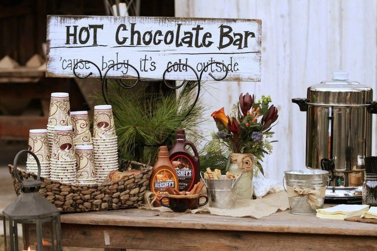 autumn wedding decoration ideas hot chocolate bar