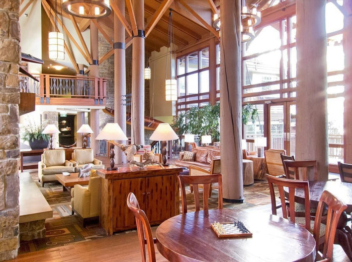 hotel lobby and restaurant interior high ceilings traditional wooden style