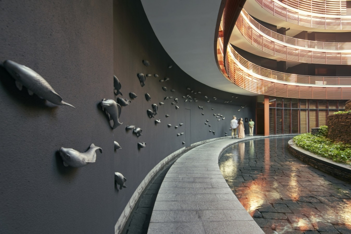 Best spa Auriga Spa modern interior with water ways and greenery contemporary interior design