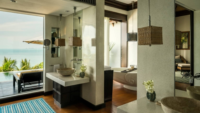 Four Seasons Thailand modern exotic luxury hotel room interior with sea view terrace