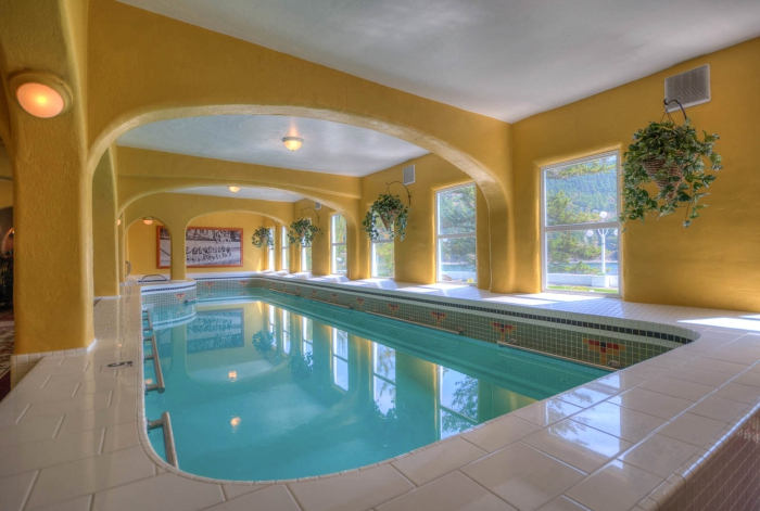 Best spa resorts in USA - Rosario Resort Indoor pool yellow interior relax and spa area