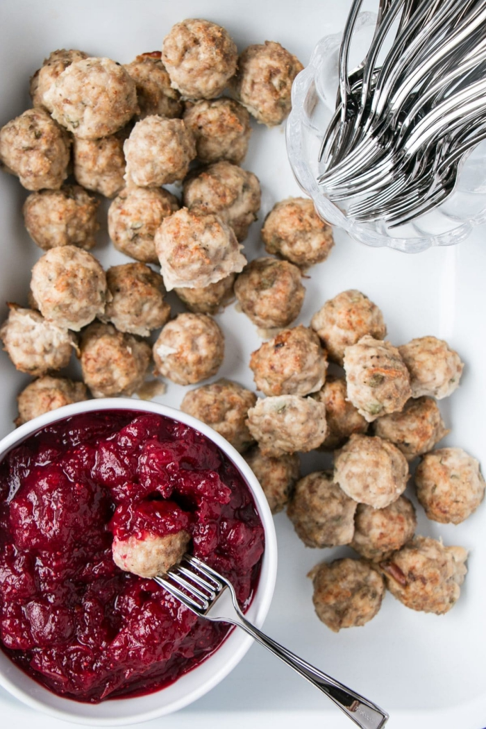 Thanksgiving side dishes homemade cranberry sauce with meat balls