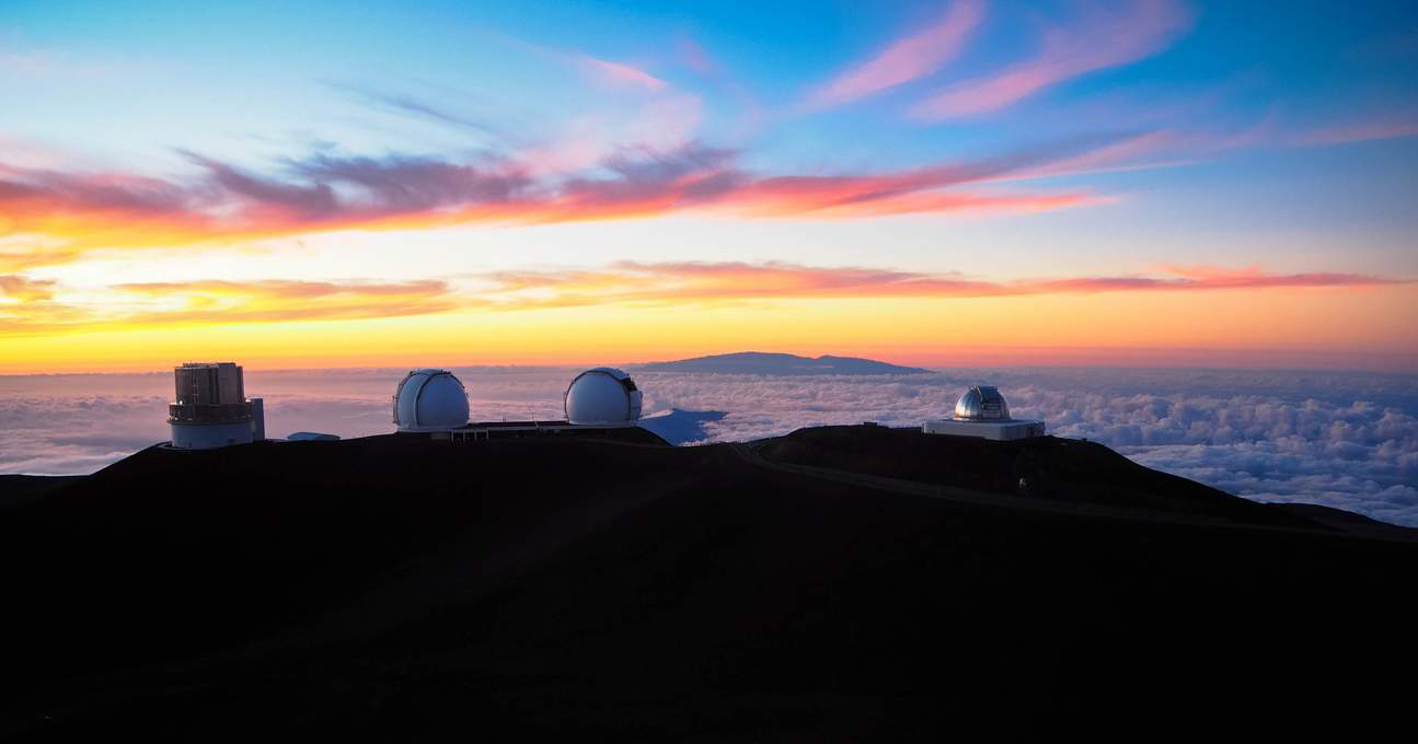 Sunset on Mauna Kea Hawaii powerful telescopes colorful sky