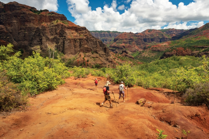 People hiking in the Waimea Canyon in Hawaii rocky landscape