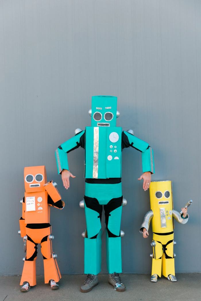 Family halloween costumes three robots father and two kids