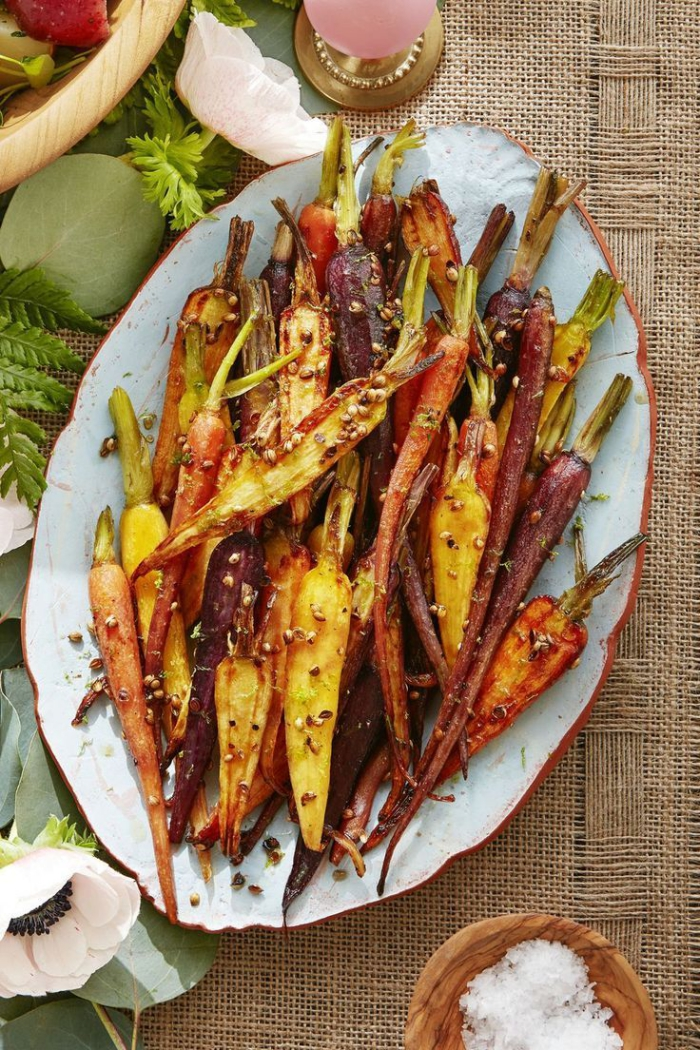 colorful carrots cut in half glazed carrots thanksgiving side dish