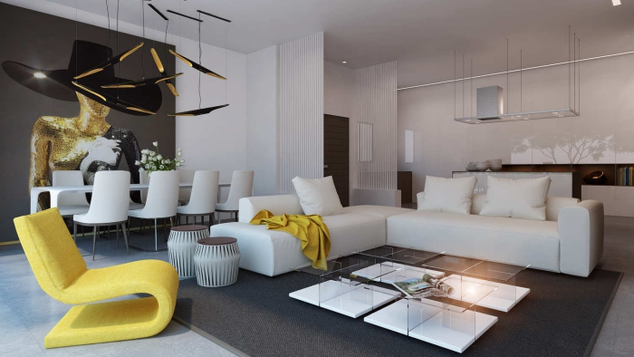 Modern luxury living room in white with grey and bright yellow accents
