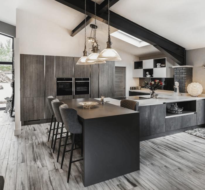 Luxury elegant modern kitchen in dark grey with wooden floor