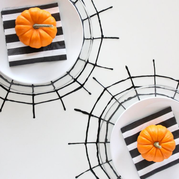 Halloween Placemats table decor black and white with orange pumkins