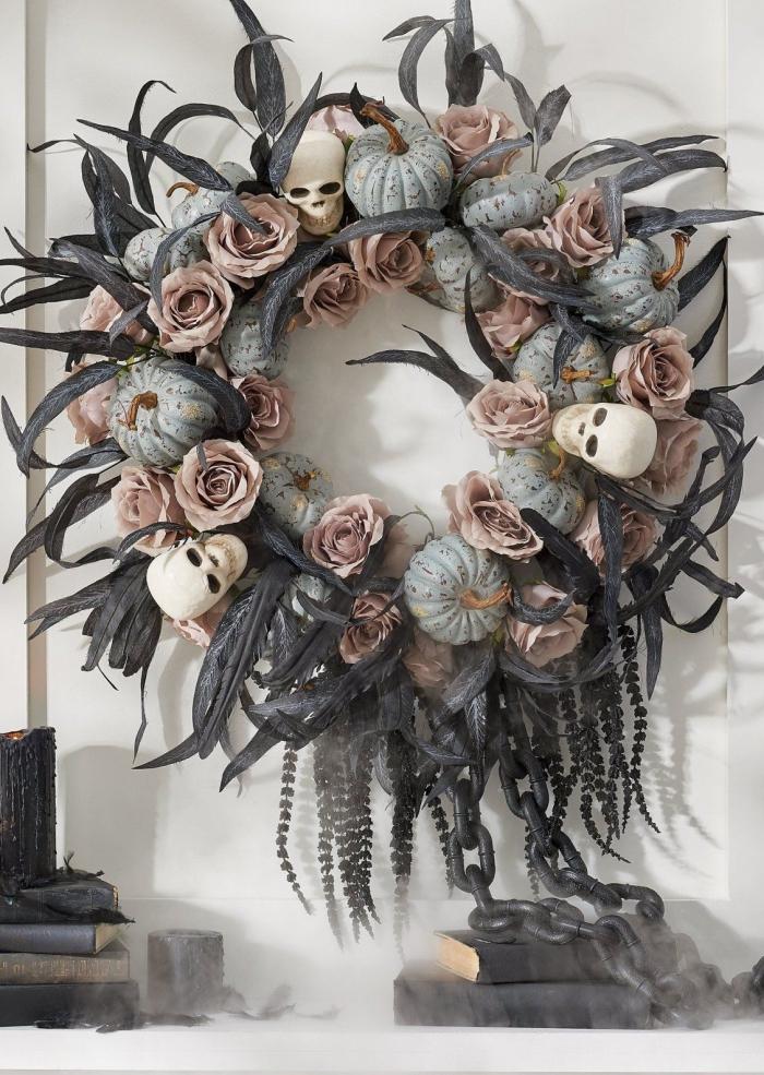 Halloween door wreath with skulls roses pumpkins and feathers