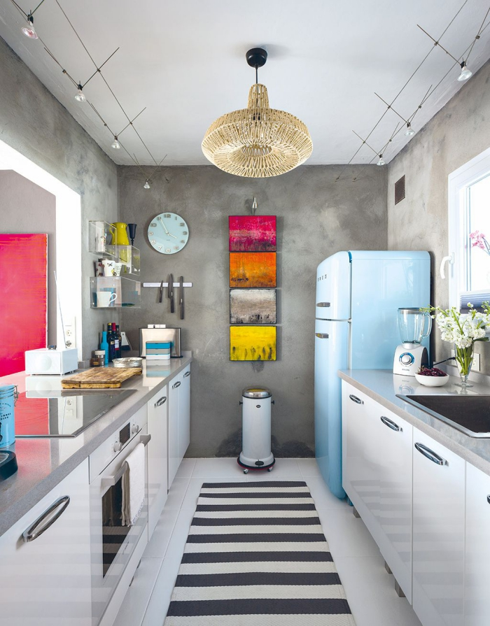 galley kitchenette ideas modern grey and white kitchen with light blue fridge