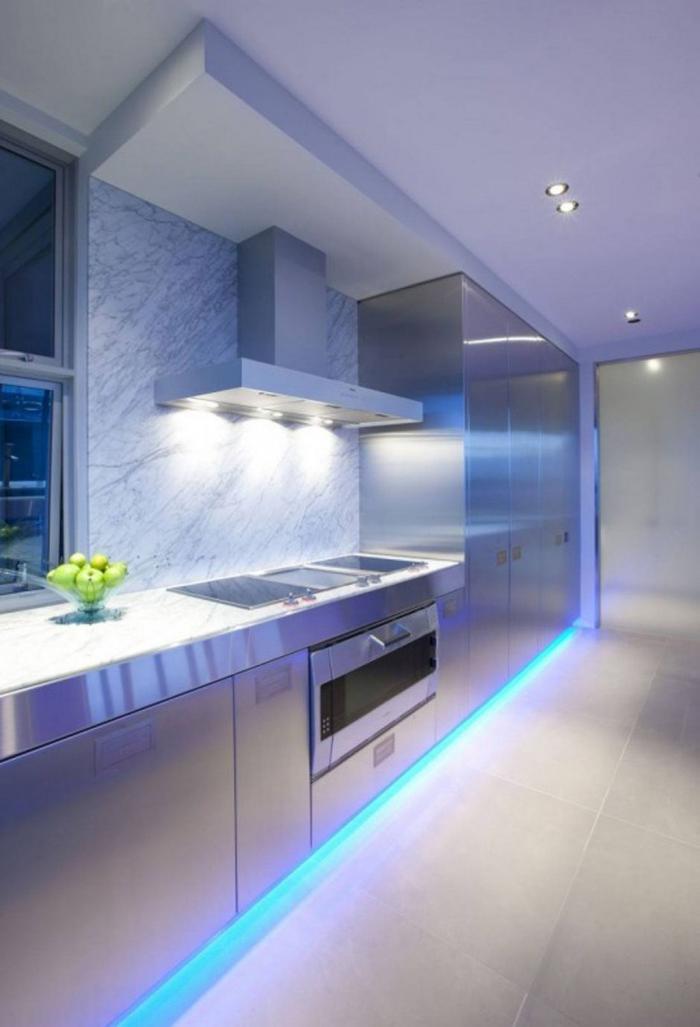 LED lights in a modern kitchen blue floor lighting