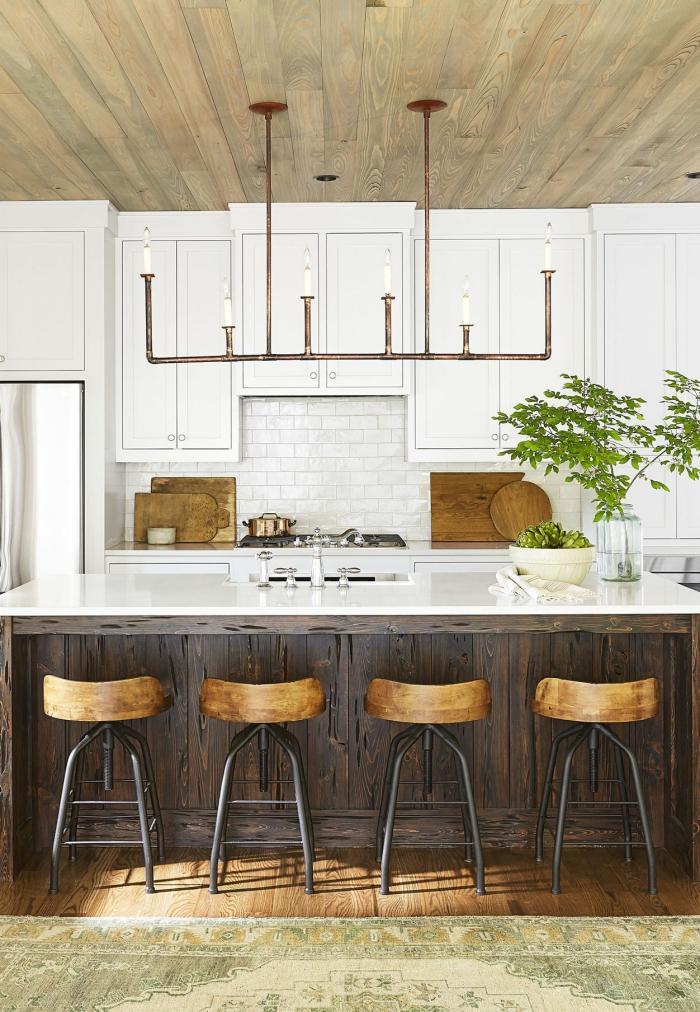 Kitchen island sleek modern industrial chandelier with electric candles