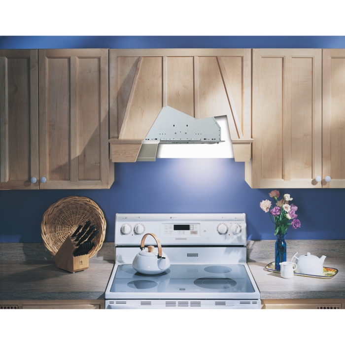 Kitchen stove lighting in a light wooden kitchen