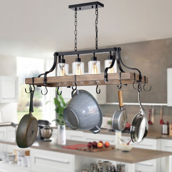 practical kitchen light with hooks for hanging pans modern lighting solutions