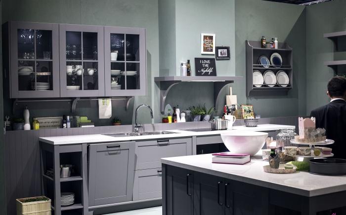 elegant kitchen in grey with a kitchen island
