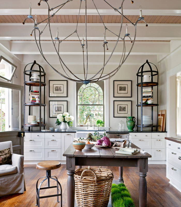 Large modern abstract metal kitchen chandelier