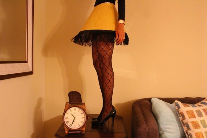 Leg Lamp Halloween costume woman legs high heels and yellow skirt