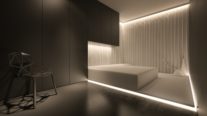 modern minimalist bedroom in white and gray with bright ambient lighting