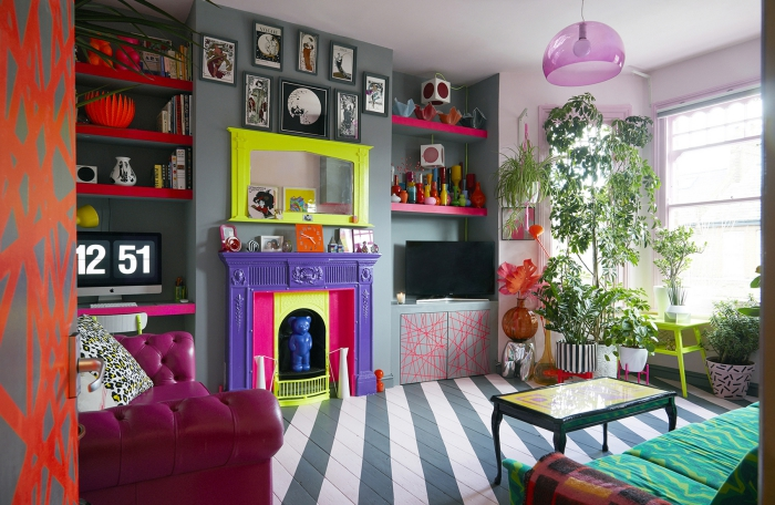 Modern living room fusion design bohemian colors bright neon fireplace and mirror