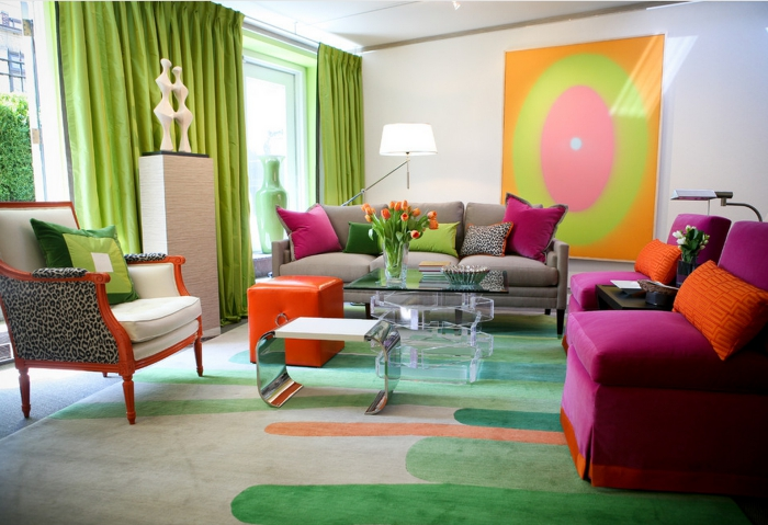 Modern living room in bright colors inspiration leopard print modern art bright furniture
