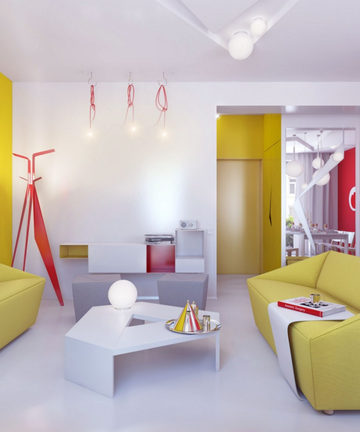 clean sleek modern living room design with pops of yellow and bright red