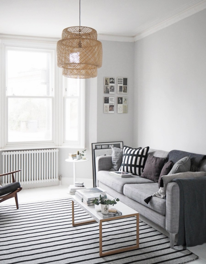 airy Scandinavian style living room with soft grey walls