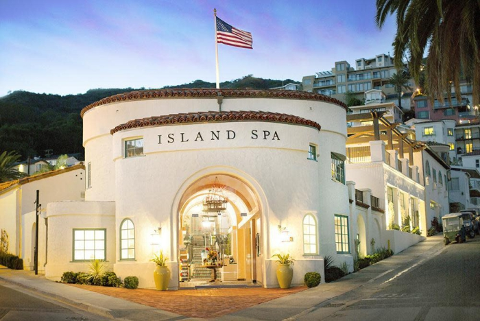 Spa in USA Island Spa Catalina entrance street view evening lights